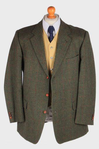 Burberry Tweed Mens Blazer Jacket Windowpane Wool Size XL Green -HT3014-166012