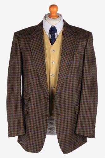 Burberry Mens Blazer Jacket Windowpane Wool Size L Multi -HT3016-166024