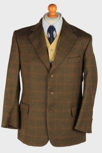 Burberry Blazer Jacket Windowpane Wool Dark Brown L