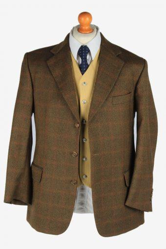 Burberry Mens Blazer Jacket Windowpane Wool Size L Dark Brown -HT3021-166086