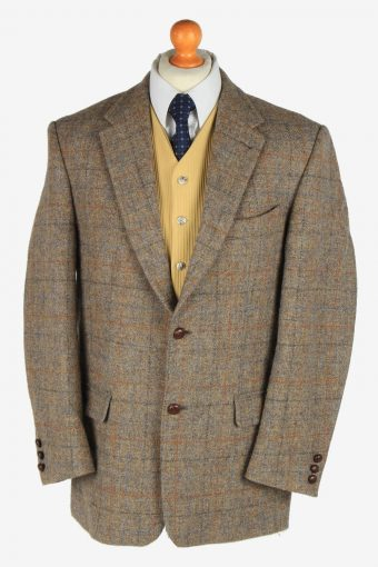 Mens Harris Tweed Blazer Jacket Windowpane Country XL