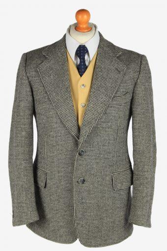 Harris Tweed Blazer Jacket Classic Windowpane Grey M