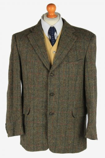 Harris Tweed Blazer Jacket Classic Windowpane Green M