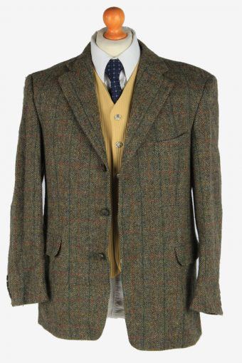 Harris Tweed Mens Blazer Jacket Windowpane Country Vintage Size M Green -HT3033-166188