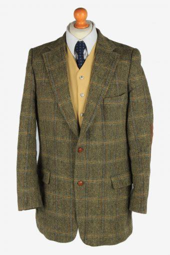 Harris Tweed Blazer Jacket Windowpane Elbow Patch Green XXL