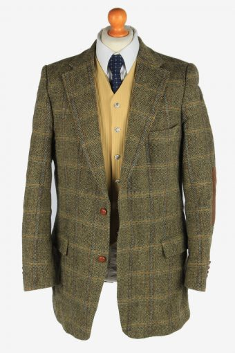 Harris Tweed Mens Blazer Jacket Windowpane Elbow Patch Size XXL Green -HT3034-166194