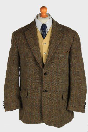Harris Tweed Blazer Jacket Windowpane Elbow Patch Khaki XL