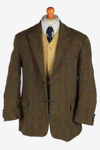 Harris Tweed Mens Blazer Jacket Windowpane Elbow Patch Size XL Khaki -HT3035-166200