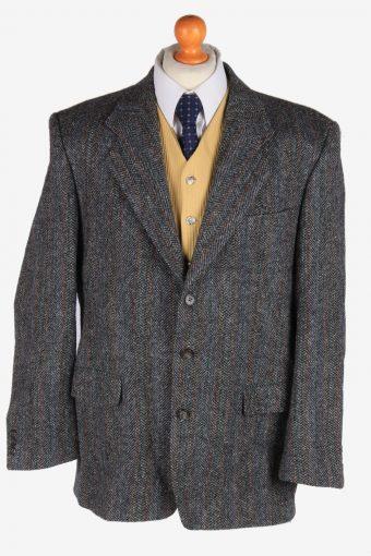 Harris Tweed Blazer Jacket Herringbone Grey XL