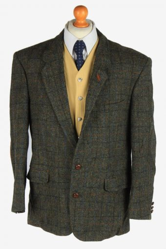 Mens Harris Tweed Blazer Jacket Windowpane Elbow Patch Dark Green XL