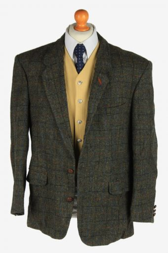 Mens Harris Tweed Blazer Jacket Windowpane Elbow Patch Size XL Dark Green -HT3040-166230