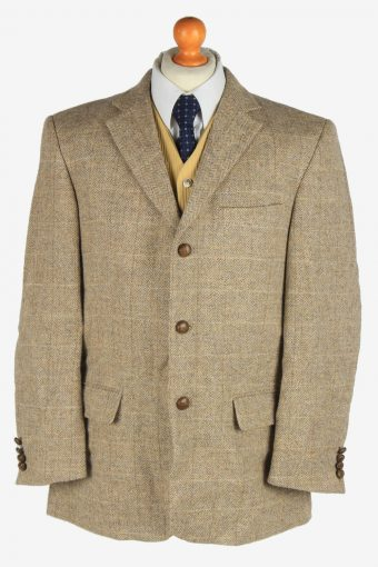 Harris Tweed Blazer Jacket Classic Windowpane Beige XL