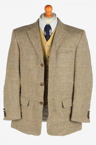 Harris Tweed Mens Blazer Jacket Windowpane Country Size XL Beige -HT3041-166236