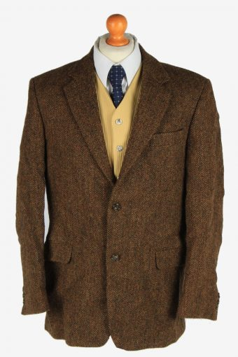 Mens Harris Tweed Blazer Jacket Herringbone Dark Brown L