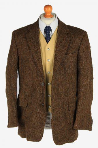Mens Harris Tweed Blazer Jacket Herringbone Country Size L Dark Brown -HT3047-166272