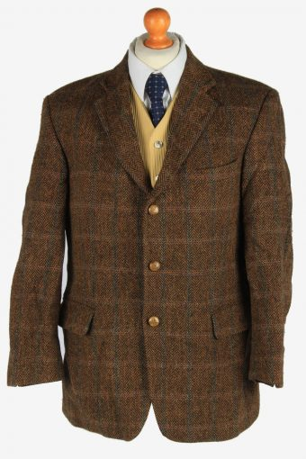 Mens Harris Tweed Blazer Jacket Windowpane Dark Brown XL
