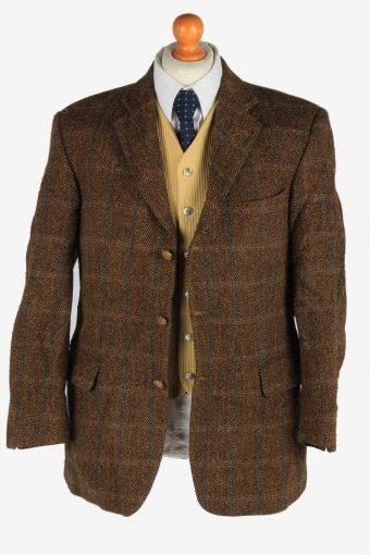 Mens Harris Tweed Blazer Jacket Windowpane Country Size XL Dark Brown -HT3048-166278