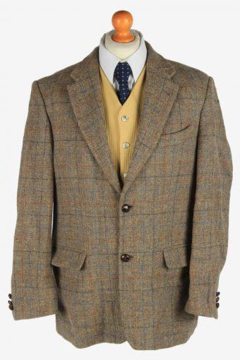 Mens Harris Tweed Blazer Jacket Windowpane Grey L