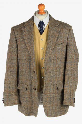 Mens Harris Tweed Blazer Jacket Windowpane Country Vintage Size L Grey -HT3051-166296
