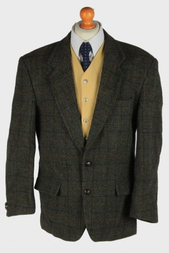 Harris Tweed Blazer Jacket Classic Windowpane Dark Green XL