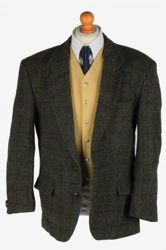 Harris Tweed Mens Blazer Jacket Windowpane Country Size XL Dark Green -HT3058-166334