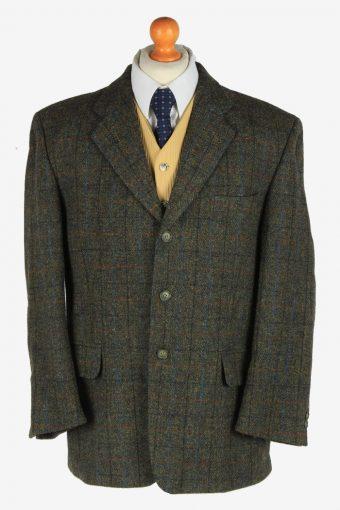Harris Tweed Mens Blazer Jacket Windowpane Country Vintage Size L Dark Green -HT3061-166353