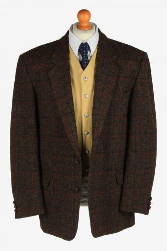 Mens Harris Tweed Blazer Jacket Windowpane Country Size XL Dark Brown -HT3062-166366