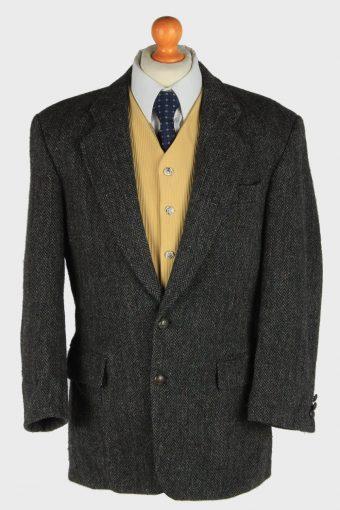 Harris Tweed Blazer Jacket Herringbone Dark Grey M