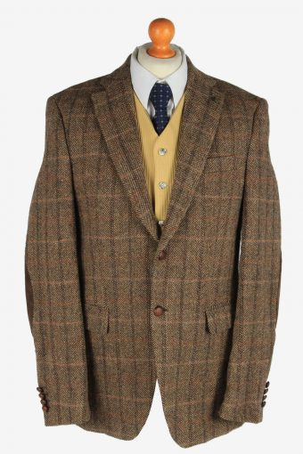 Mens Harris Tweed Blazer Jacket Windowpane Elbow Patch Brown L