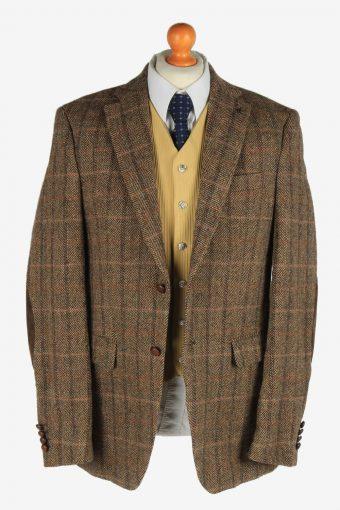 Mens Harris Tweed Blazer Jacket Windowpane Elbow Patch Size L Brown -HT3069-166408