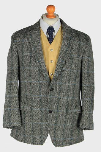 Harris Tweed Blazer Jacket Elbow Patch Grey L