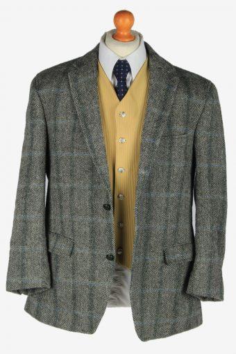 Harris Tweed Mens Blazer Jacket Windowpane Elbow Patch Vintage Size L Grey -HT3076-166450