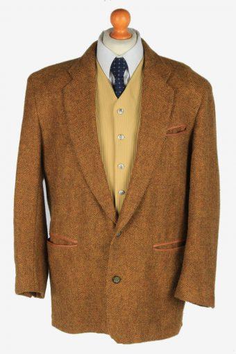 Mens Blazer Jacket Tweed Brown L