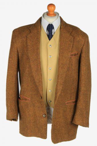 Tweed Mens Blazer Jacket Casual Suit Size L Brown -HT3078-166462