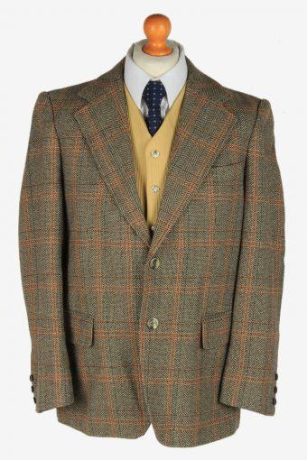 Mens Blazer Jacket Tweed Windowpane L