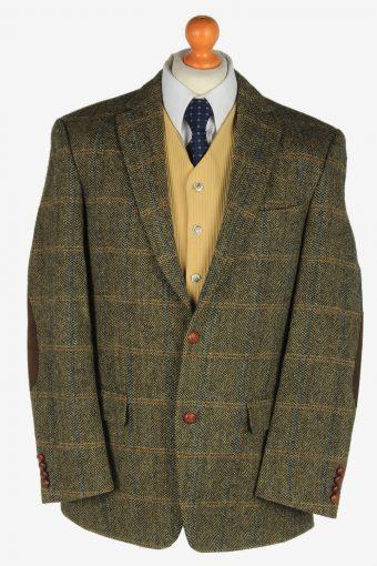 Mens Harris Tweed Blazer Jacket Windowpane Elbow Green L