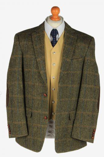 Mens Harris Tweed Blazer Jacket Windowpane Elbow Patch Size L Green -HT3082-166486