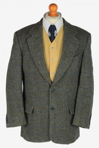 Harris Tweed Blazer Jacket Classic Windowpane Grey L