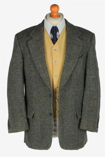 Harris Tweed Mens Blazer Jacket Windowpane Country Vintage Size L Grey -HT3086-166510