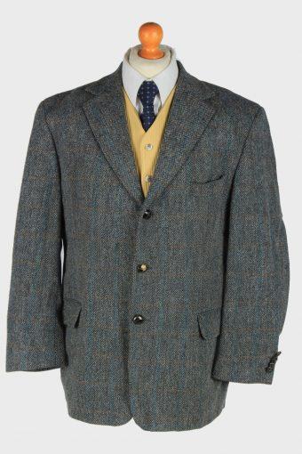 Mens Harris Tweed Blazer Jacket Windowpane Grey XL