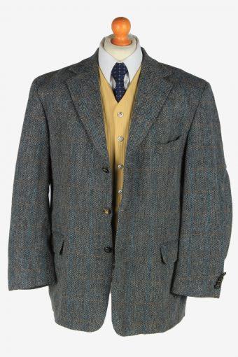 Mens Harris Tweed Blazer Jacket Windowpane Country Size XL Grey -HT3088-166522