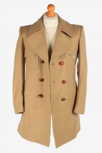 Men's Wool Duffle Coat Sherpa Lining Vintage Size S Light Brown C3053-163458