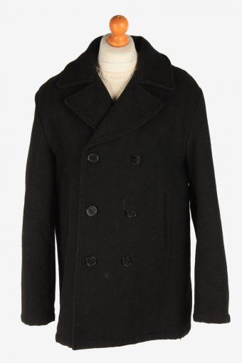 Men's Duffle Coat Blend Lined Vintage Size XL Black C3054