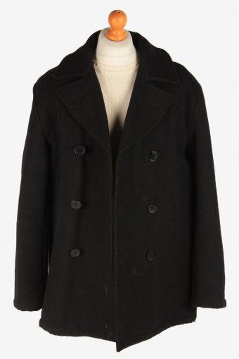 Men's Duffle Coat Blend Lined Vintage Size XL Black C3054-163464