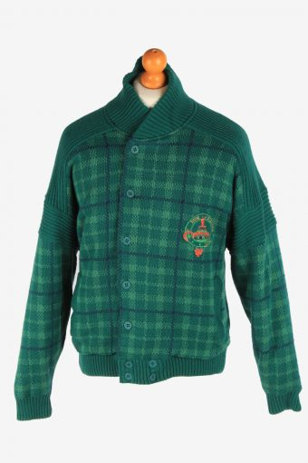 Men's North Pole Bomber Jacket  Knitted  Vintage Size M Green C3055