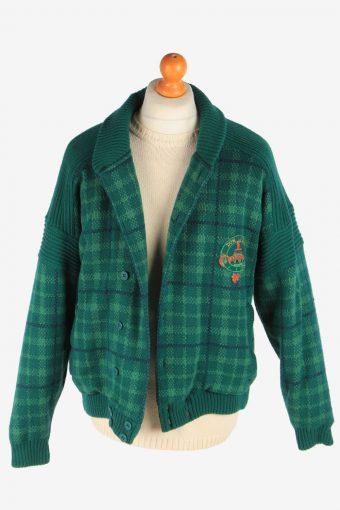 Men's North Pole Bomber Jacket Knitted Vintage Size M Green C3055-163470