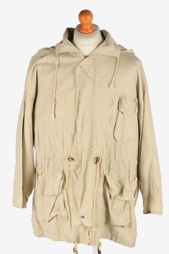 Men's Stefanel Hooded Coat Outdoor Vintage Size XL Beige C3065