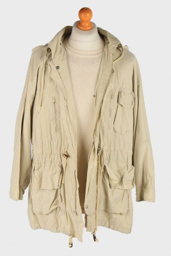 Men's Stefanel Hooded Coat Outdoor Vintage Size XL Beige C3065-163530