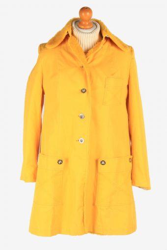 Women's Sherpa Overcoat Sherpa Collar Vintage Size S Yellow C3066