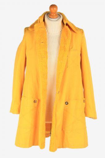 Women's Sherpa Overcoat Sherpa Collar Vintage Size S Yellow C3066-163536